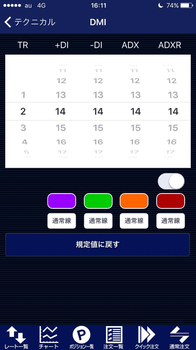 ヒロセ通商のラインの色変更画面