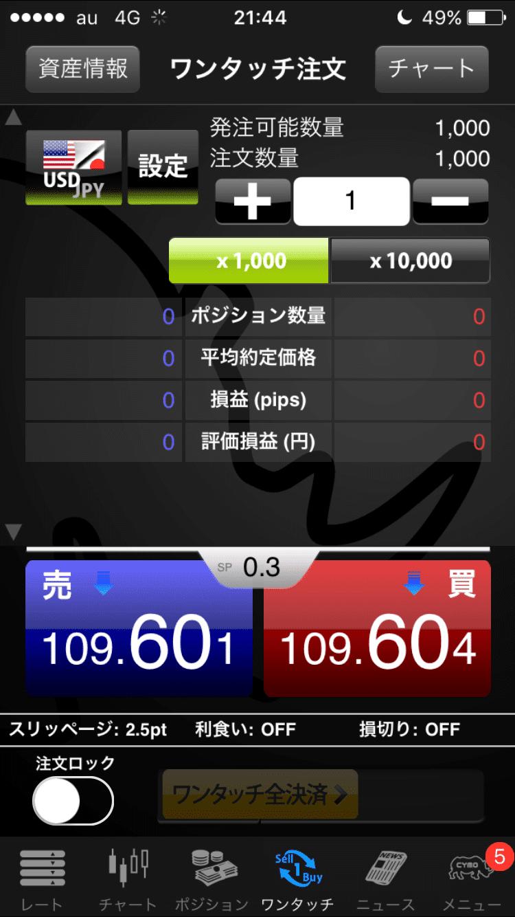 YJFX!のワンタッチ注文画面