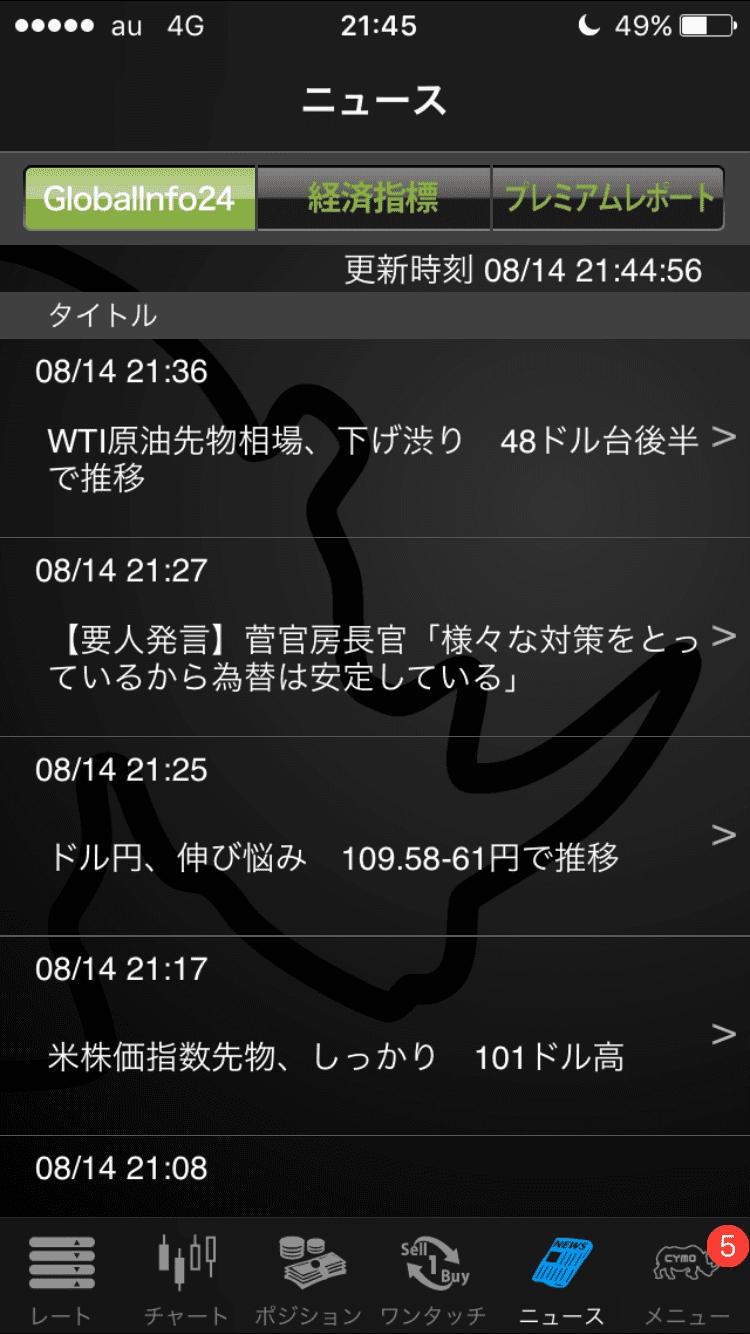 YJFX!のニュース画面