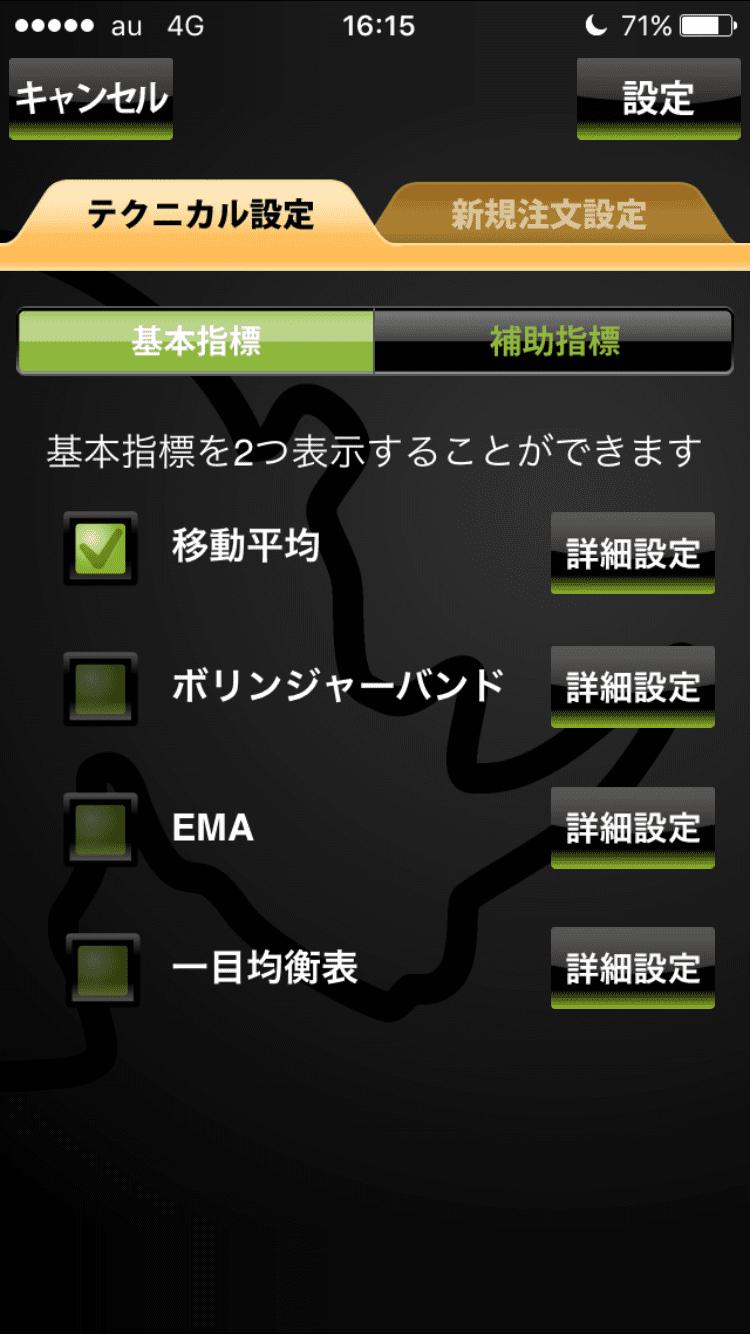 YJFX!のテクニカル基本指標選択画面
