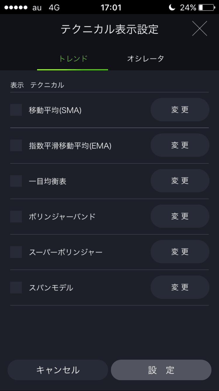 DMMFXスマホアプリのトレンド系テクニカル選択画面