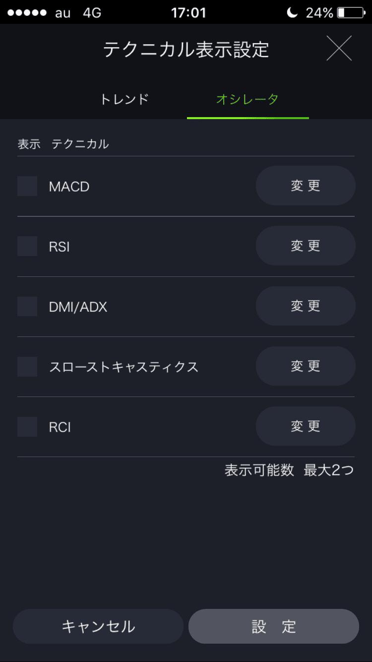 DMMFXスマホアプリのオシレーター系テクニカル選択画面