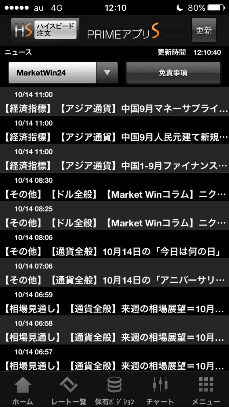 PRIMEアプリSのMartketWin24のニュース画面