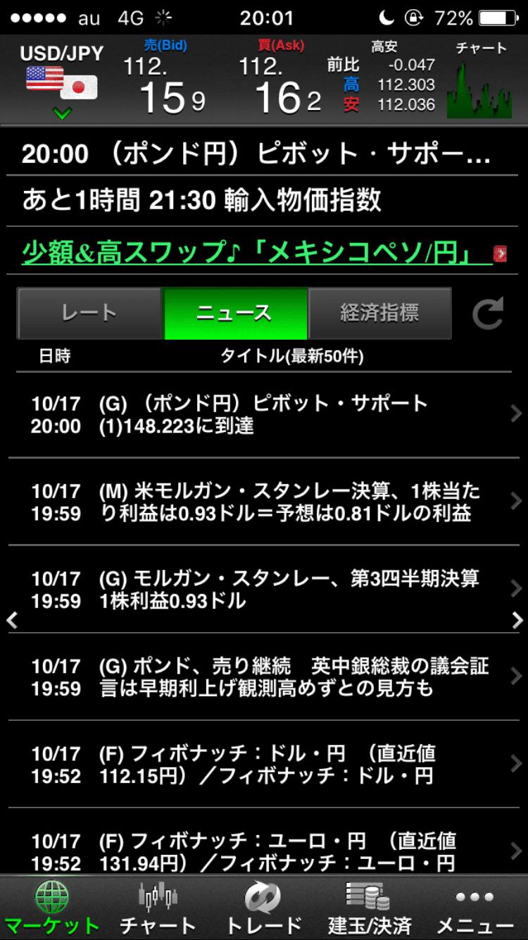 マネーパートナーズのニュース画面