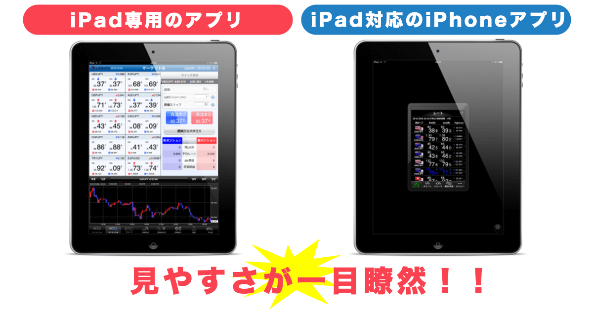 iPad専用アプリと対応アプリの比較画像