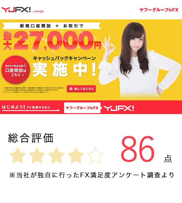 総合人気FX会社ランキング第3位のYJFX!