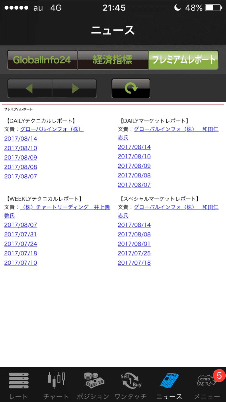 YJFX!スマホアプリ・ニュース画面