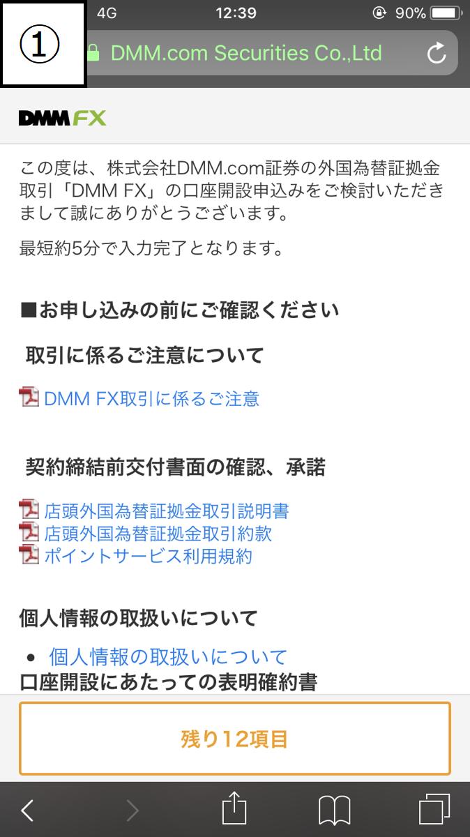 DMMFX口座開設フローSP2