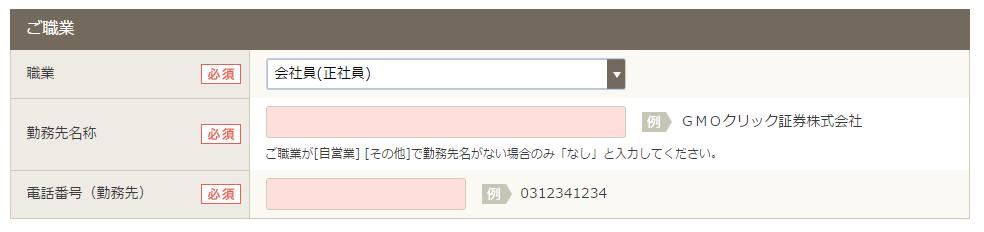 GMO口座開設申込_会社員