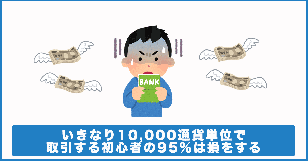 10,000通貨単位で取引をする人の95%は損をする