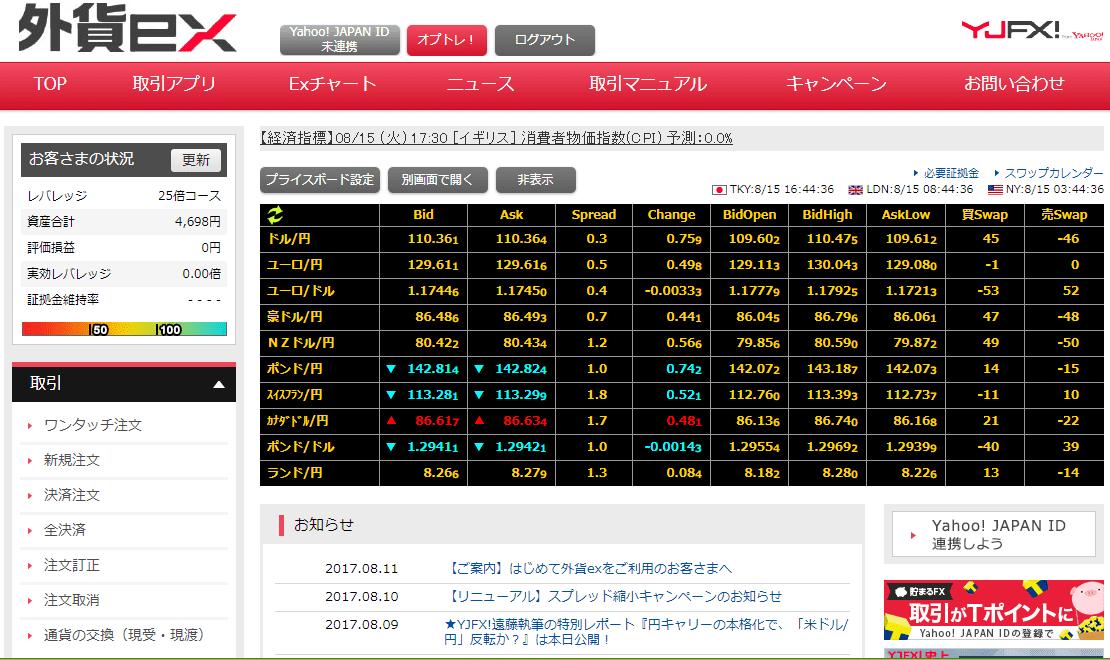 YJFX 取引画面(外貨ex)