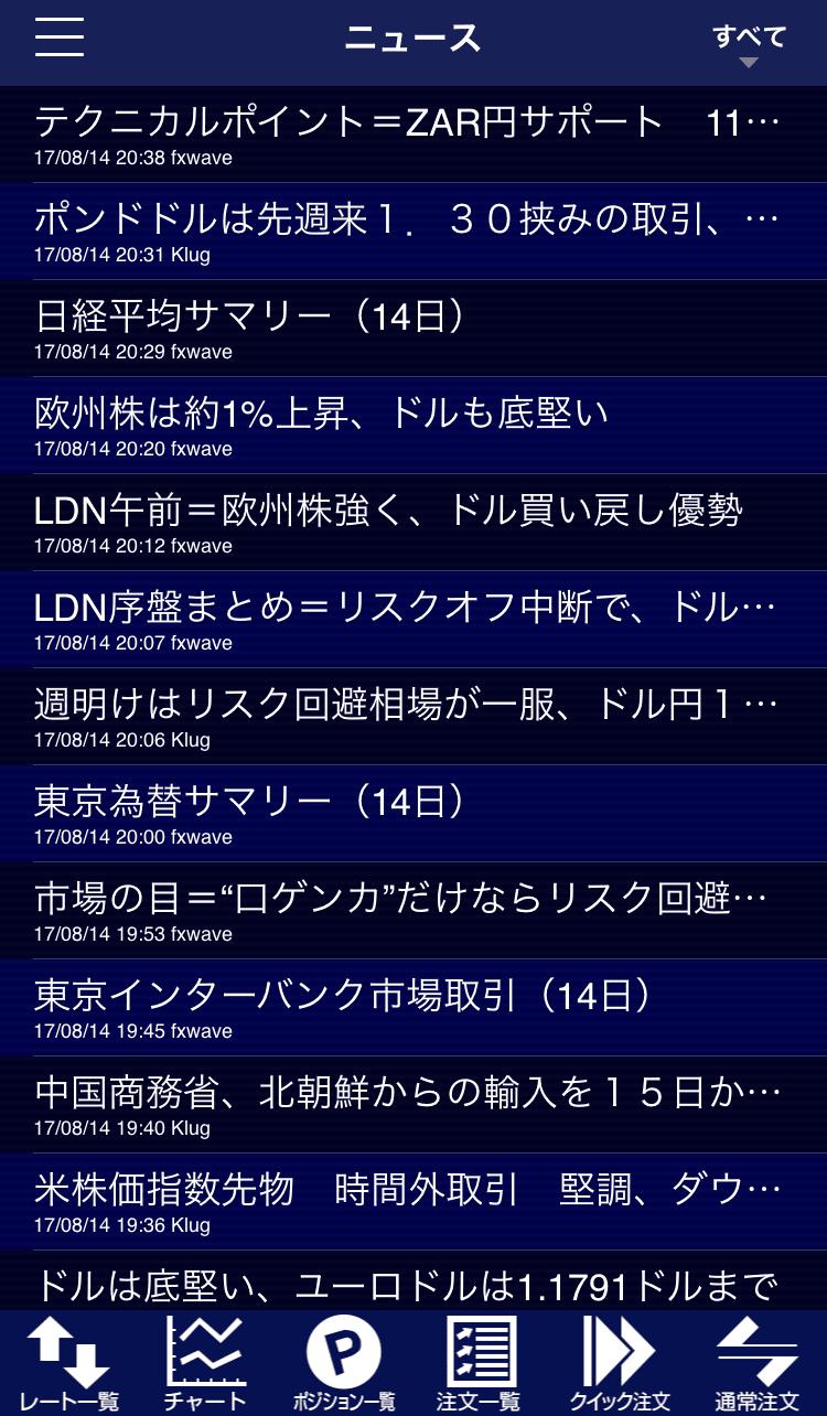 ヒロセ通商のアプリニュース画面